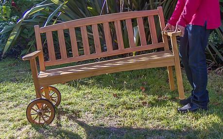 Wayfarer Rolling Bench – Teak & Country