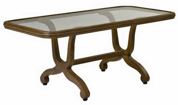 Landgrave Cozumel Cast Aluminum Coffee Table with Glass Top