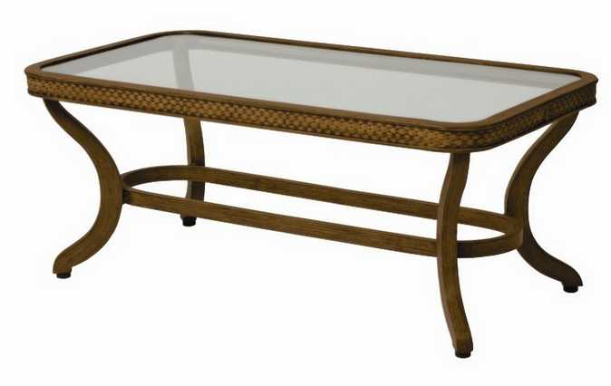 Landgrave Cozumel Cast Aluminum Coffee Table with Patterned Aluminum Rim and Glass Top