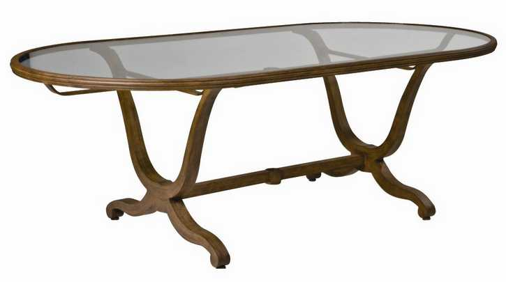 Landgrave Cozumel Cast Aluminum 42� X 84� Dining Table with Glass Top