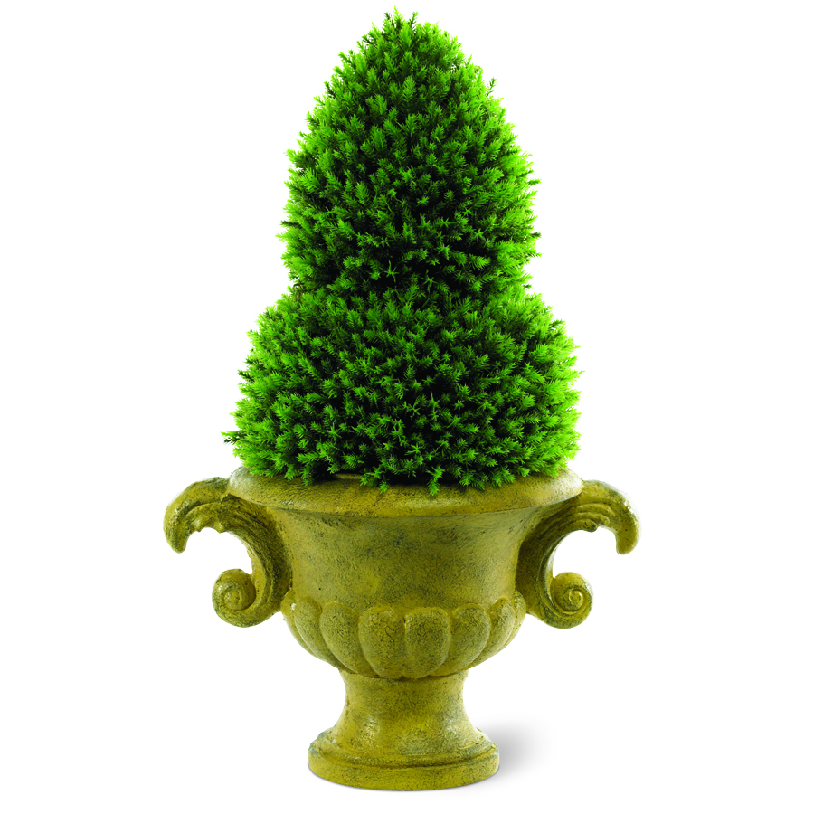 Cypress Cedar Finial Topiary on Resin Urn