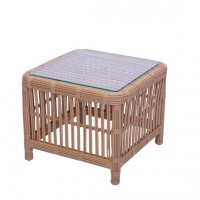 Kingsley-Bate Havana Rattan Wicker Side Table w/ Glass