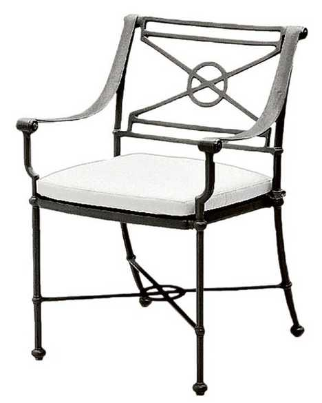Delphi Aluminum Dining Arm Chair – Loose or Attached Cushion