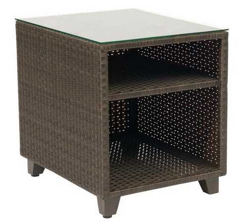 Del Cristo Wicker End Table – Woven with Glass Top