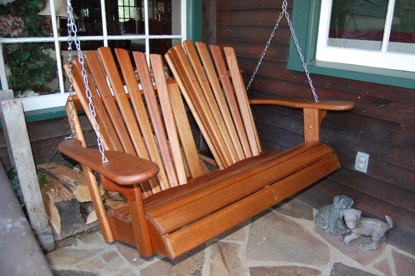 Exclusive! Hyre's Teak Double Back Porch Swing