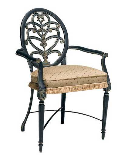 Landgrave Elise Cast Aluminum Dining Arm Chair - Loose Cushion