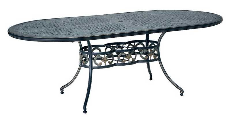 Landgrave Elise Cast Aluminum 42� X 84� Oval Umbrella Table  – Ivy Cast Top