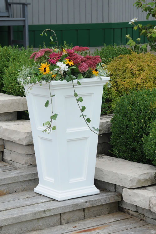 Fairfield Tall Planter White, Black, Clay