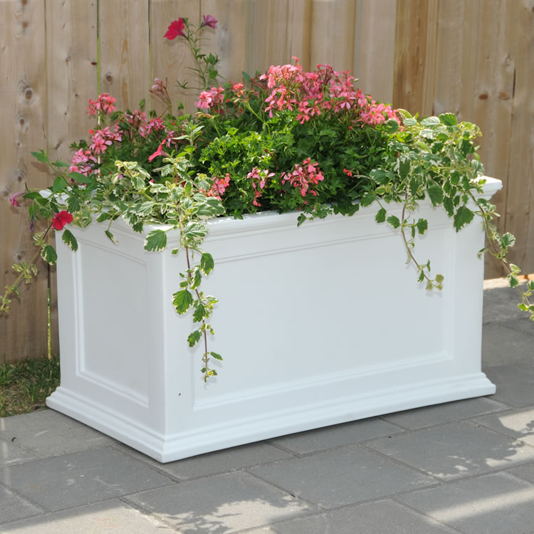 Fairfield Patio Planter 20×36 White, Black, Clay