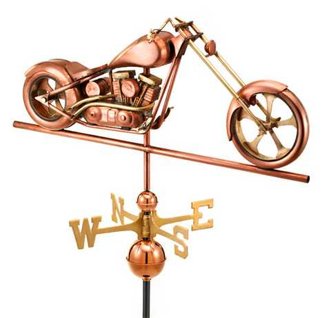 Good Directions Chopper Weathervane – Polished Copper