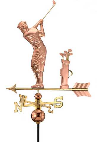 Good Directions Golfer Weathervane – Polished Copper