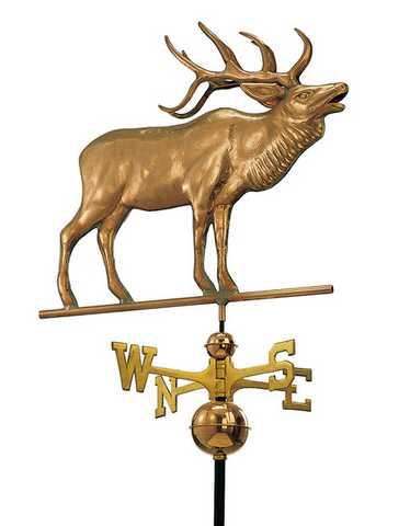 Good Directions Elk Weathervane – Polished Copper