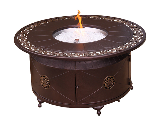 Circular Cast Aluminum Firepit with Lid