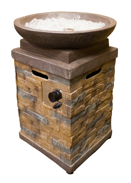 Round Faux Stone Firepit with Square Pillar
