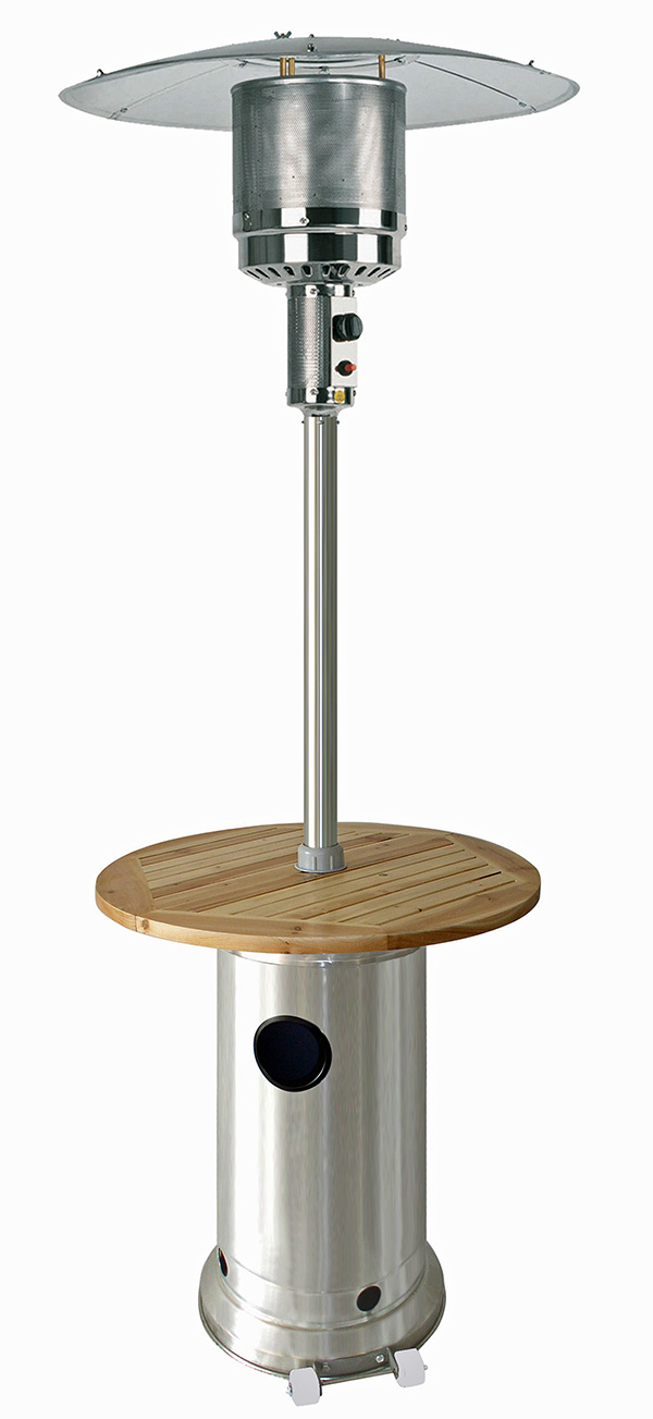 87� Tall Stainless Steel Patio Heater with Wood Table