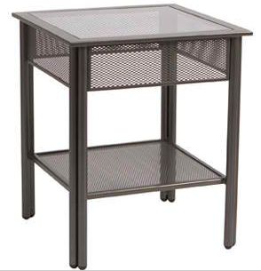 Jax Wrought Iron End Table – Clear Glass