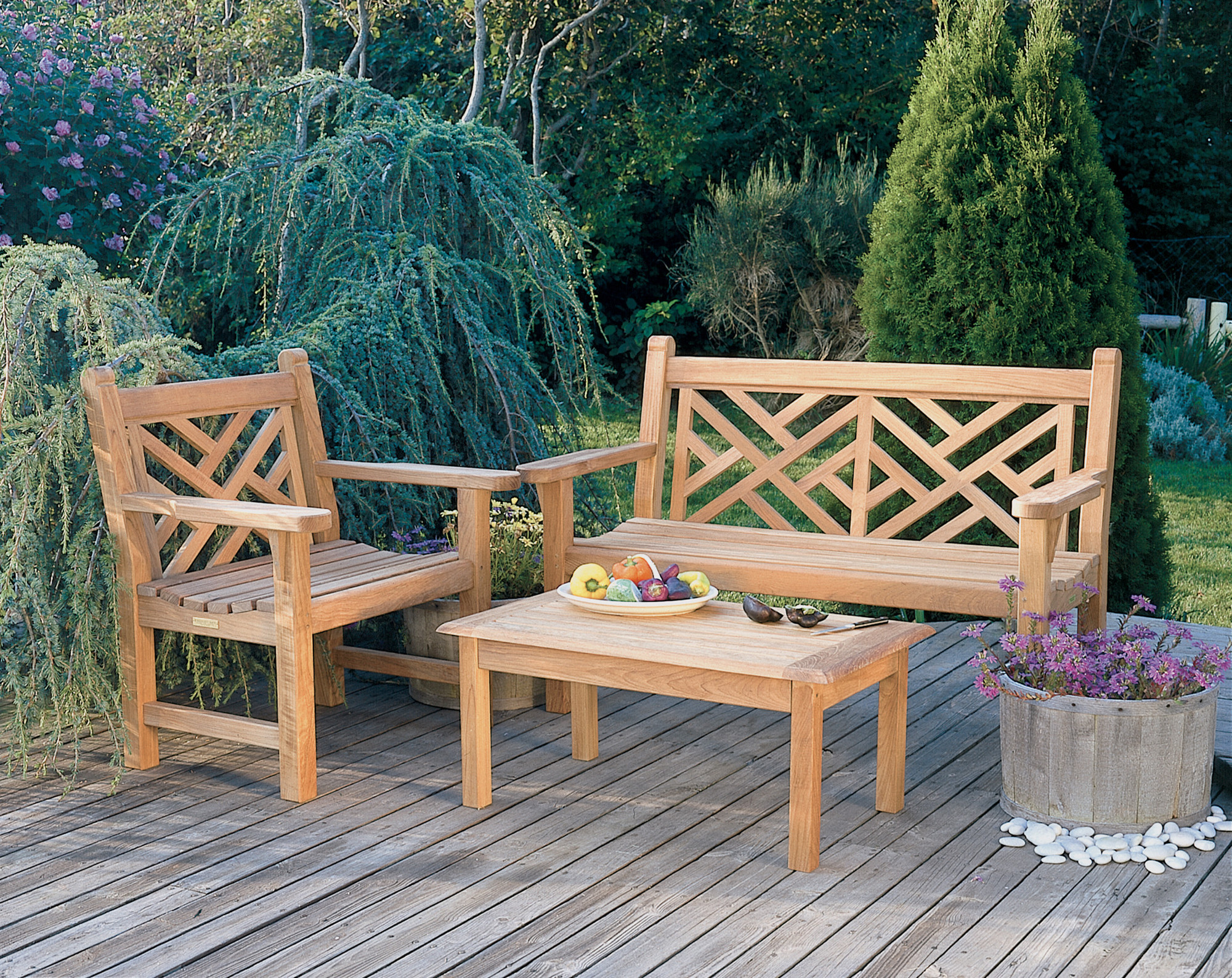 Kingsley-Bate Chippendale 4 Piece Teak Bench and Garden Chair Ensemble