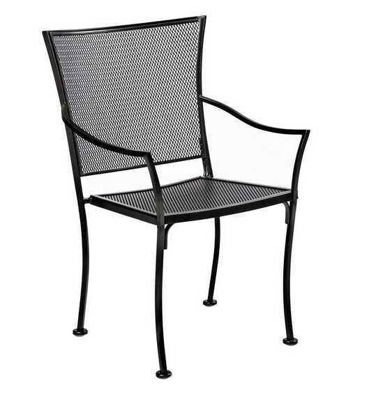 Amelie Wrought Iron Bistro Arm Chair – Stackable
