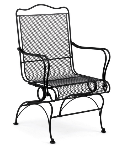 Tucson Wrought Iron High Back Coil Spring Chair