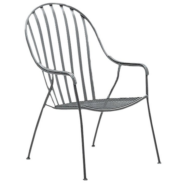 Valencia Wrought Iron High-Back Barrel Chair-Stackable