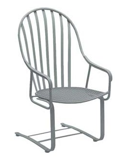Valencia Wrought Iron High-Back Spring Base Barrel Chair