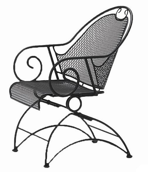 Cantebury Wrought Iron Coil Spring Barrel Chair