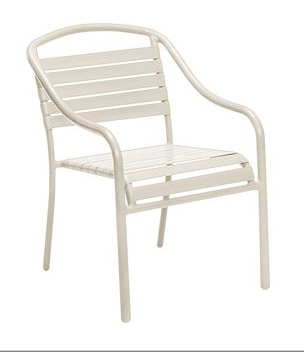 Baja Aluminum Sandstone White Arm Chair - Stackable