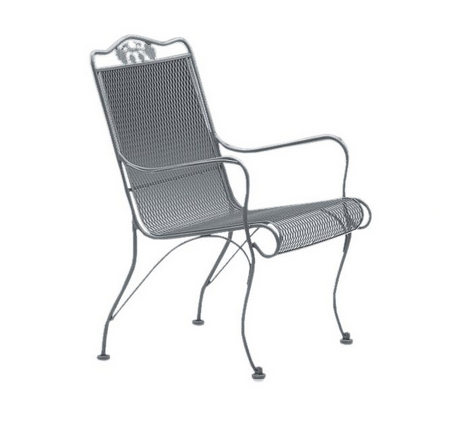 Windflower Wrought Iron Mesh High-Back Lounge Chair