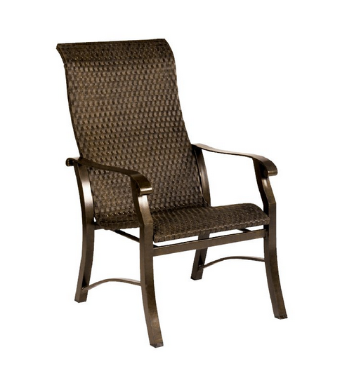 Cortland Woven Aluminum High Back Dining Arm Chair Flat Weave