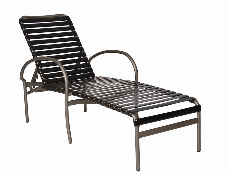 Rivington strap aluminum adjustable chaise lounge for Aluminum frame chaise lounge