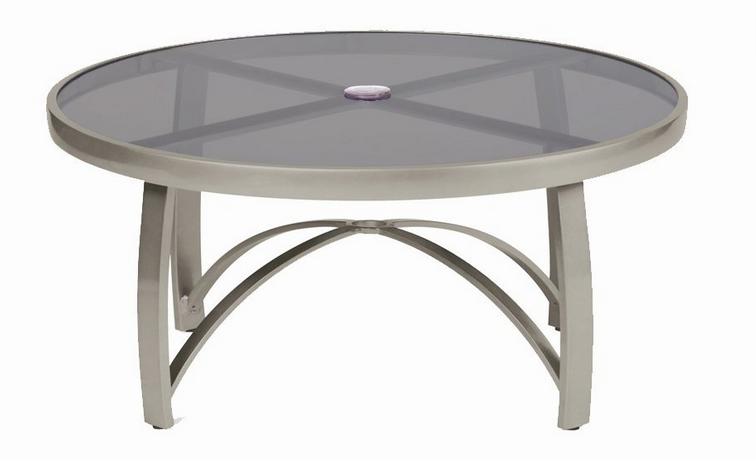 Wyatt Flex Aluminum 48� Round Umbrella Table – Smoked Glass