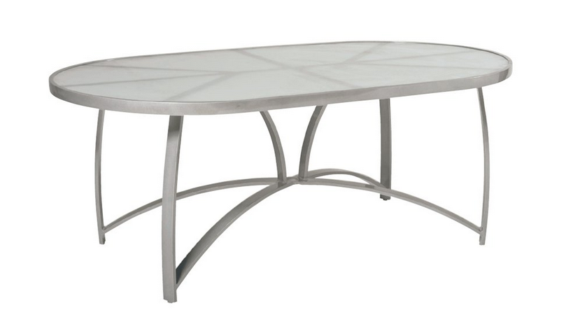 Wyatt Flex Aluminum 42� X 74� Oval Dining Table – Frosted Glass