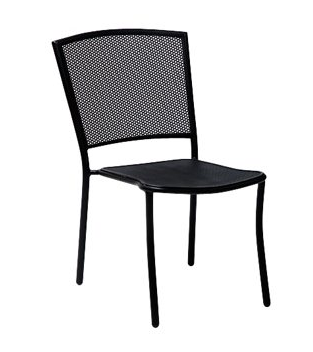 Albion Mercury Wrought Iron Textured Black Side Chair – Stackable