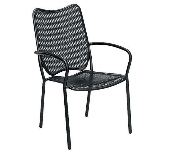 Alissa Mercury Wrought Iron Textured Black Arm Chair – Stackable
