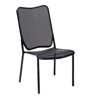 Alissa Mercury Wrought Iron Textured Black Side Chair - Stackable