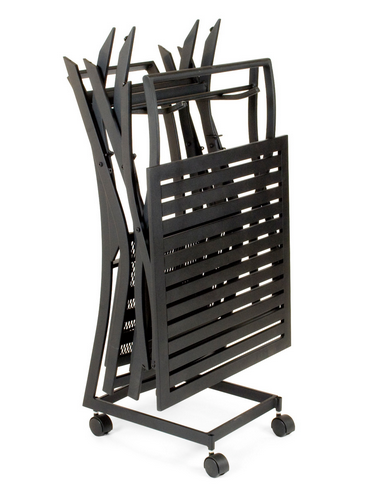Avery Wrought Iron Textured Black Chair and Table Stand