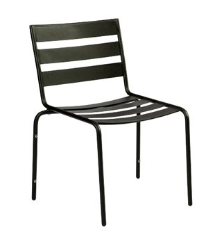 Metro Wrought Iron Textured Black Mercury Dining Side Chair – Stackable