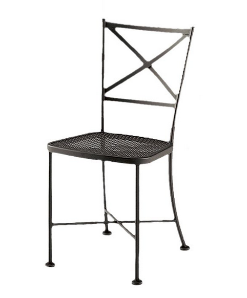Cafe Classics Wrought Iron Genoa Side Chair Mesh Seat