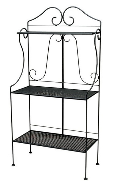 Wrought Iron Deluxe Bakers' Rack With Mesh Shelves