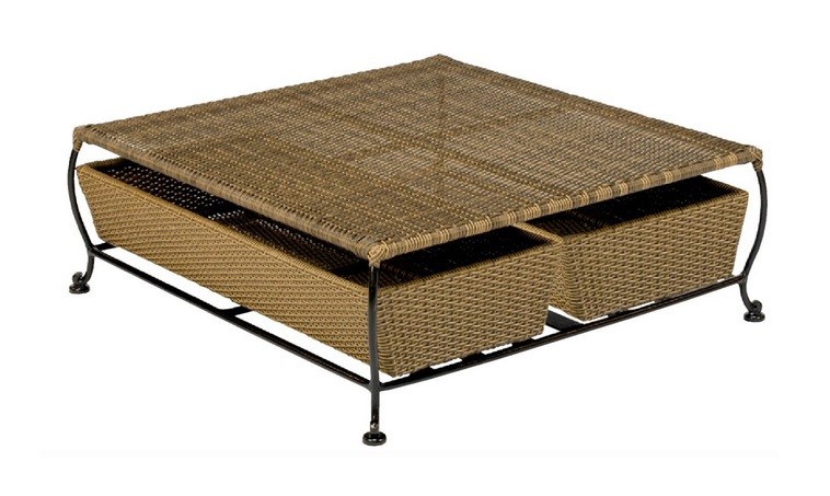 Wrought Iron Cocktail Table With – Woven Baskets