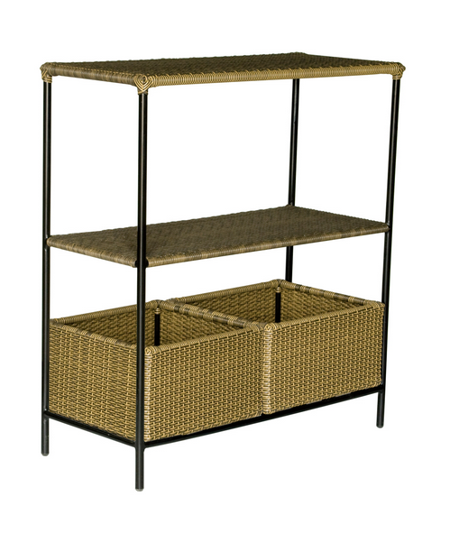 Wrought Iron Console Table With Woven Baskets