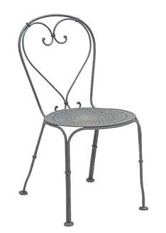 Parisienne Wrought Iron Side Chair Pattern Metal Seat
