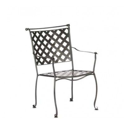 Maddox Wrought Iron Dining Arm Chair – Stackable