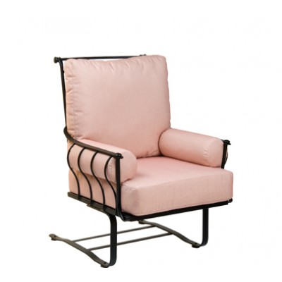Maddox Wrought Iron Spring Lounge Chair with Arm Cushions