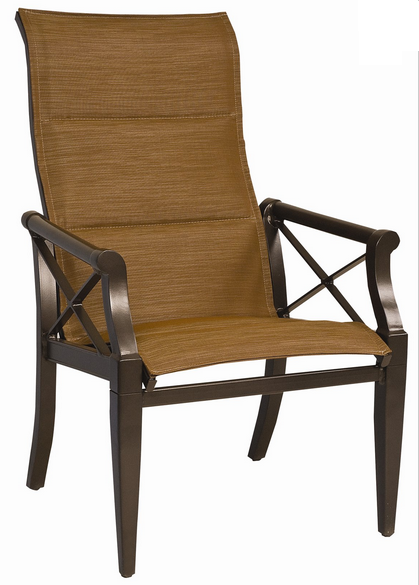 Andover Aluminum Padded Sling High-Back Dining Arm Chair