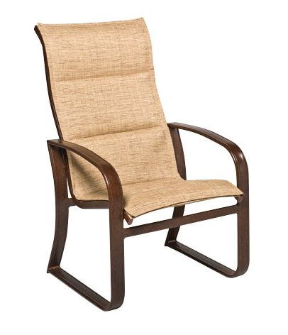 Cayman Isle Aluminum Padded Sling High-Back Dining Arm Chair