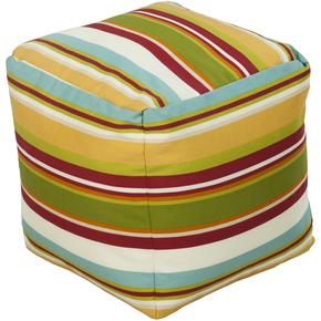 Surya Cube Striped Pouf Ottoman