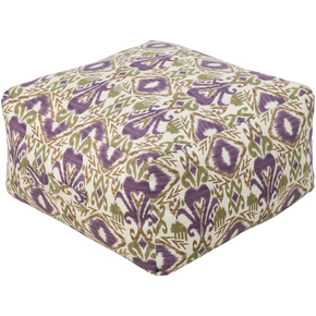 Surya Square Southwestern Berry, Green, Brown Pouf Ottoman