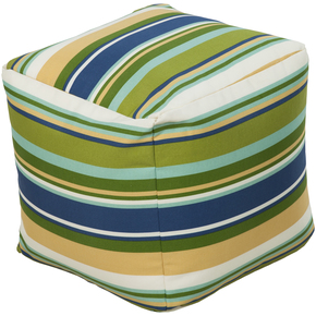 Surya Square Striped Pouf Ottoman