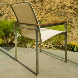 Kingsley-Bate Tivoli  Stainless Steel and Teak Dining Armchair (Stacking)